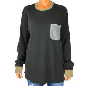 Lost Waffle Knit Cotton Shirt Size X Large Black